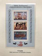 Granada 1992 Minisheet, Christopher Columbus MNH