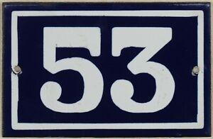 Old blue French house number 53 door gate plate plaque enamel metal sign steel