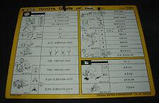 Inspektionsblatt Toyota Corolla Diesel CE 80 Werkstatt Service Blatt 10/1985