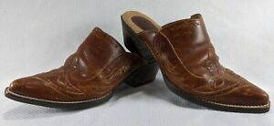 ARIAT Womens Size US 6 B Brown Leather Clogs Western Mules Slip On