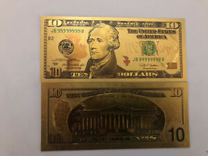 Banknote 💵 UNITED STATES 🇺🇸- Novelty Hamilton 10 Dollars Gold Note #68A