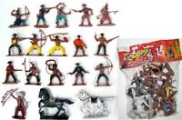 COWBOY TOY SOLDIERS 16 Painted Plastic Cowboys Indians with 2 Horses FREE SHIP