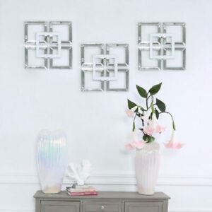 Small Square Geometric Wall Art Mirrored & White Picture Contemporary Decor 40cm