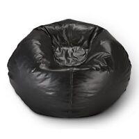 98 Round Vinyl Bean Bag Black Indoor Pouf Seat Chair Teens Lounge Seating New