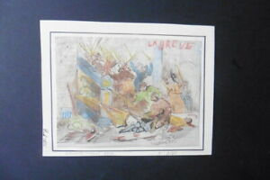 FRENCH SCHOOL 1856 - HISTORIC SCENE PARIS - PUBLIC UPRISING - SIGN. INK DRAWING
