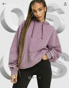Asos Oversized Hoodie In Washed Burgundy Size 6 Sweater Top