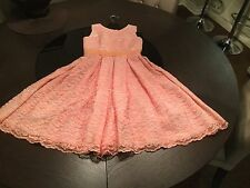 New custom made Youth Girls Lace/silk dress Size S-M peach Party/wedding/flower