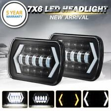 "DOT Approved 7x6"" LED Headlight Pair Sealed Beam Halo For Nissan Pickup Hardbody"