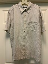 Columbia Short Sleeve XL Beige And Tan AM7316 01554 55% Linen 45% Cotton