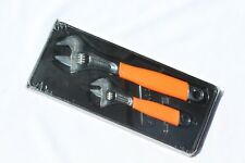 Snap On Tools Adjustable Wrench Set 2pc. Flank Drive With Orange Cushion Grips