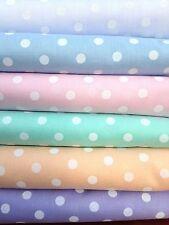 Polka Dot Pastel Polycotton Fabric Blue Mint Peach White Pink Lilac 0.5mm SPOTS