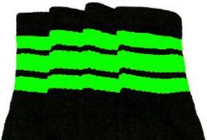 "22"" KNEE HIGH BLACK tube socks with NEON GREEN stripes style 1 (22-139)"