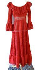 New listing Vintage! Lillie Rubin Cotton Lace Boho Long Sleeve Red Dress. Vtg 10, Small.