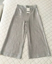 Ladies Zara Sequinned Culotte Trousers In Silver Size XS BNWT