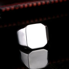 New 316L Stainless Steel Men Women Jewelry Smooth Square Ring CR187 Sz 13