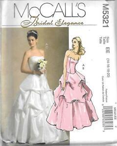 UNCUT sewing pattern McCall's 5321 ladies 14-20 wedding bridal dress formal FF