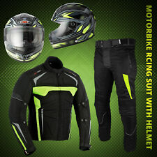 Men Motorcycle Motorbikes Riding Suit Waterproof Jacket Trouser Helmet Full Face
