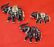 Vintage Costume Jewelry Set of 3 Trunk Up Elephant Brooch / Pin