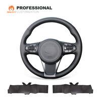 Top Design Black Genuine Leather Car Steering Wheel Cover for Kia Sorento Sedona