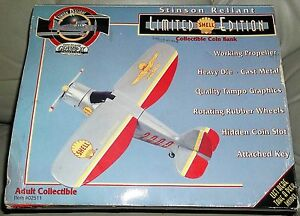 GearBox Shell Airplane Diecast Bank Ltd Ed First Millinium Stinson Reliant Bank