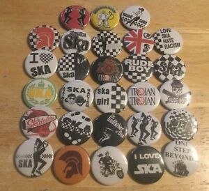 Ska, 2-Tone, Skinheads, Rude Boys, Scooter Club Button Badges X28