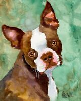 Boston Terrier Dog 11x14 signed art PRINT RJK painting