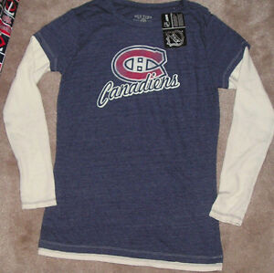 NEW NHL Montreal Canadiens Long Sleeve T Shirt L/S Women Tri Blend L Large NWT