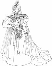 """14-16"""" Fashion Doll Wedding Gown Dress sewing Pattern Victorian Gibson girl"""