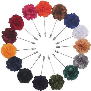 15-Pc Multi Color Mens Lapel Pin Wedding Flower Suit Boutonniere Prom Stick