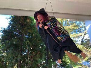 Vintage Halloween Ganz Flying Witch on Broom
