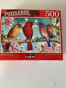 Puzzlebug Jigsaw Cardinals Meet the Bluebirds 18.25x11 BN **FREE SHIP**