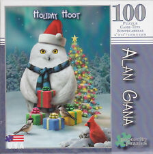 "Jigsaw Puzzle ALAN GIANA HOLIDAY HOOT Owl 100 Piece 9"" x 12"" Papercity"