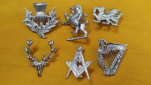 Glengarry Cap Hat Badges Chrome Finish/Balmoral Cap Badges Metal/Highlander Caps