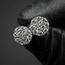 Mens Mini Sterling Silver Round HipHop CZ Cluster Honey Comb Screw Back Earrings