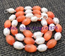 """7-8mm Rice White Pearl&8x12mm Rice Orange Red Mexican Opal Gems Necklace 20"""" 999"""