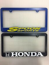 (2) Honda Ridgeline & Spoon Sports Racing License Plate Frames, Raised Letter,