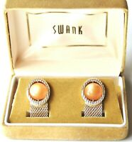 Swank Orange Moonglow Gold Tone Mesh Wrap Around Cuff Links Orig Box