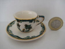 MINIATURE MASONS GREEN CHARTREUSE DOLLS HOUSE SIZE TINY TEA CUP & SAUCER TEASET