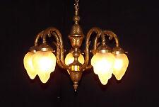 Antique French Art Nouveau Flame Globe Brass 5-Lite Chandelier