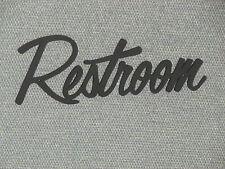 "Restroom 9"" Wood Wall or Door Word Sign Black Art Decor Wall Hanging"