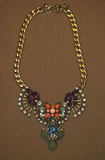 J Crew Statement Necklace MultiColor Crystals Matte Gold Link Chain NWOT