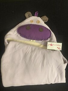 Smoochie Baby Purple Organic Cotton HIPPO Hooded Baby Towel NWT