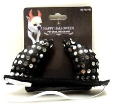 Halloween Pet Black & Silver Devil Horns Headband for Dogs Size Small/Medium