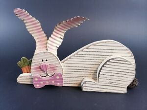 Hobby Lobby Easter Decor White Pink Wooden Bunny Rabbit
