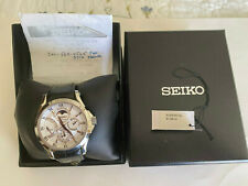 SEIKO PREMIER MEN'S WATCH KINETIC SAPPHIRE LEATHER SRX003 day/date/Moon phase
