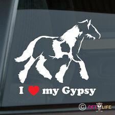 I Love my Gypsy Sticker Die Cut Vinyl - Ver 4 Irish Cob Coloured Tinker Horse