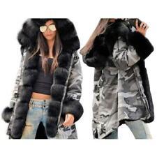 ROIII LADIES HOODED PARKA FAUX FUR WINTER WARM WOMEN CASUAL LONG JACKET COAT TOP