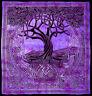 XL lila & schwarz Keltischer Baum des Lebens Tagesdecke Überwurf Dekor Kunst