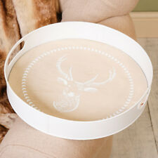 Large Round Wooden French Country Style Reindeer Print Serving Tray by Dibor