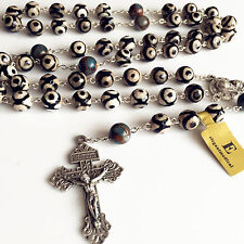 XL 10MM dzi agate bead Rosary Cross CRUCIFIX CATHOLIC NECKLACE Men's Women Gift